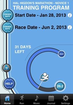 Hal Higdon's Novice 1 Marathon Training App.